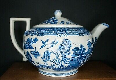 Antique Willow Wedgwood Etruria Teapot 1900s 26cm VGC  • 30£