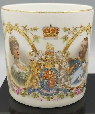 Antique 1911 King George V China Coronation Mug By Harrods Exclusive Design. • 4.99£