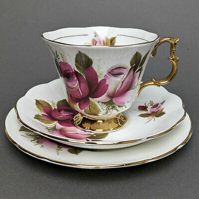 Royal Imperial Fine Bone China Red Rose Tea Trio ~ Lovely! • 12.99£