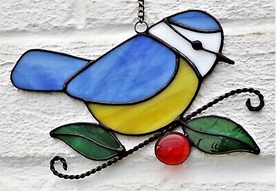 Hand Crafted Stained Glass Sun Catcher. Blue Tit. • 10.50£