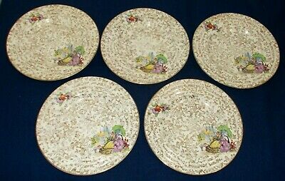 5 Early English Empire Pottery Crinoline Lady Plates In Good Condition • 12.99£