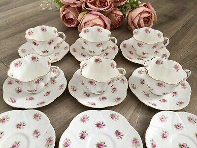 Antique Foley Dainty Rose Coffee Set For 6 Vintage China Cups Saucers Shelley • 249£