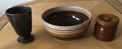 Vintage Brown Stoneware, Bowl 19, Cup, Pot With Lid Made In England • 0.99£