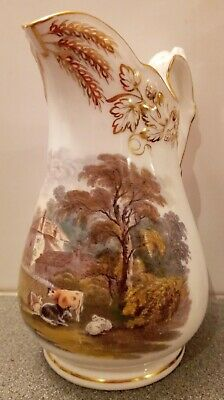 Antique Davenport Gilded Fine Porcelain 19cm Cattle Scene Jug  • 50£