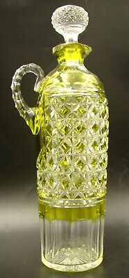 French Baccarat Crystal Decanter Handle Ewer Lime Cut To Clear Ca 1900 • 934.16£