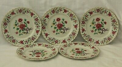 Beautiful Vintage Set Of 5 Old Foley 25 Cm Dinner Plates In Chinese Rose Pattern • 21.95£