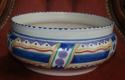 Vintage Large Poole Pottery Bowl With Art Deco Geometric Hand Painted Design • 8.05£