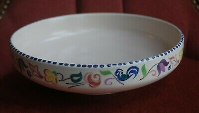 Vintage Poole Pottery Bowl With Flower & Blue Cockerel Hand Painted Design • 5.50£