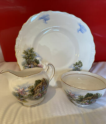 English Bone China Royal Vale-Country Cottage-Serving Plate,Creamer & Sugar Bowl • 10£