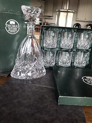 Thomas Web Crystal Decanter And Wisky Glasses • 24£