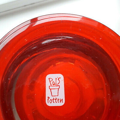 New Pols Potten Dutch Designer Heavy Glass Candle Holder Red Xmas • 8£