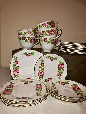 Vintage Royal Vale Bone China Tea Set Pink Roses 5 Trios Side Plates • 9.99£