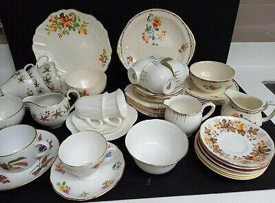 Mixed Job Lot Of Vintage Bone China Teaware: Royal Vale; Shelley; Ridgway Etc • 9.50£
