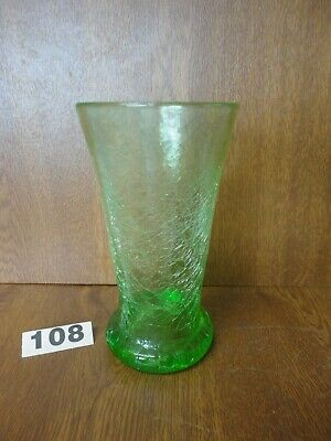 Vintage 6 3/4  Uranium Green Crackle Glass Vase - Stevens & Williams / Kanawha • 11.95£