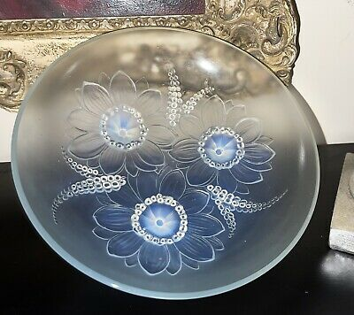 Beautiful Vintage Sabino France Opalescent Floral Centerpiece Glass Bowl  • 375£