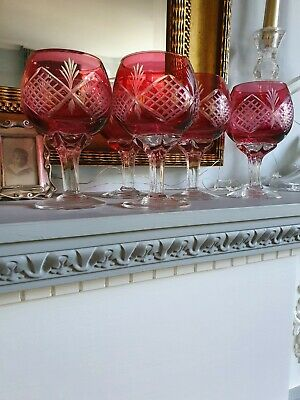 6 Vintage Edwardian Crystal Red Cranberry Flash Cut Small Wine Port Glasses • 65£