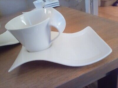 Set 2 X Villerou&Boch New Wave Large Mugs With Saucers/plates Excellent Cond. • 40£