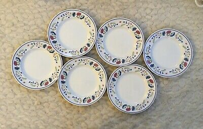 BHS Priory White Multi Floral 6 Side Plates Excellent • 22£