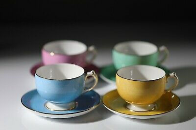 Grosvenor Copeland  Harlequin 4 X Floral Coffee Cups And Saucers • 40£