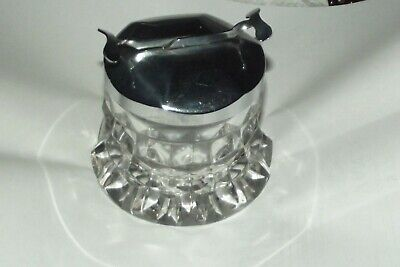SUPERB American Fostoria Clear Glass Cubed Round Sugar With Chrome Tongs  • 32£