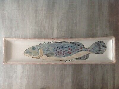 Highland Stoneware, Oblong Fish Dish Wall Plaque, Hand Painted, Made In Scotland • 85£