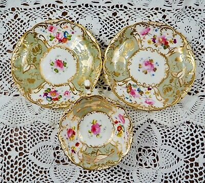 Coalport Rococo Adelaide Shape Teacup And Two Saucers, C1841 #2 • 195£