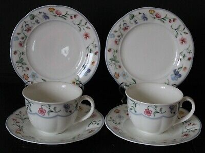 VILLEROY & BOCH ~ MARIPOSA ~ 2 X TRIOS~  2 CUPS, SAUCERS AND PLATES ~ VGC • 24.99£