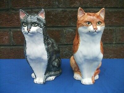Vintage Ceramic Cat Babbacombe Pottery Philip Laureston,set Of Two,22cm Tall • 34.99£