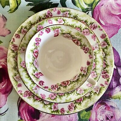 AYNSLEY Antique English Bone China Tea Cup Saucer And Plate Trio Pink Flowers  • 38£