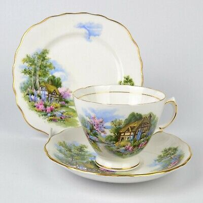 Royal Vale 7382 Country Cottage Tea Trio - Cup, Saucer, Side Plate • 12.99£