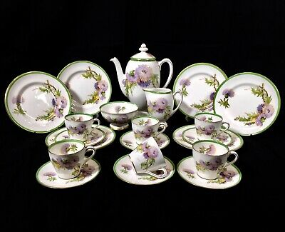 Antique Royal Doulton Glamis Thistle Coffee Set Complete For Six People C.1928 • 199£