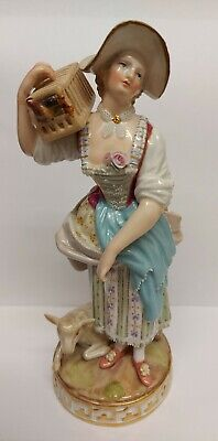 Antique Mid 19th Century Meissen Porcelain Lady Figure With Lamb & Bird Cage. • 120£