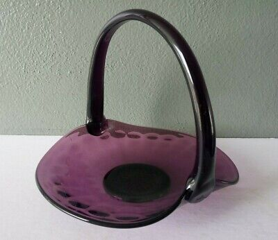 Vintage Amethyst Glass Applied Handle Bon Bon Basket • 7.88£