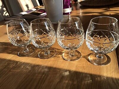 4 X ROYAL BRIERLEY  CRYSTAL ' BRUCE ' BRANDY BALLOONS /  GLASSES  Signed • 30£