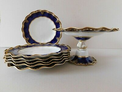 Royal Crown Derby Set Of Compote And 6 Salad Plates • 165£