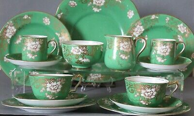 ANTIQUE CROWN STAFFORDSHIRE - EARLY 19c - GREEN GOLD TEA  COFFEE CUPS PLATES ETC • 34.99£