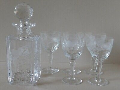 Royal Brierley (Signed) Honeysuckle Decanter And Large Wine Glasses X 5 • 145£