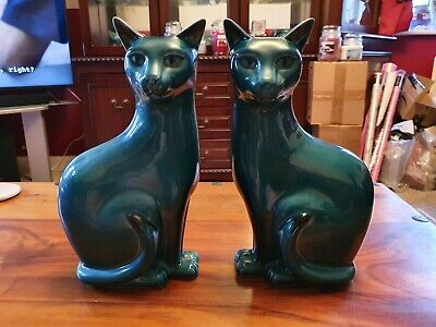 Poole Pottery Pair Of Blue  Glaze Cats (large) Perfect • 119£