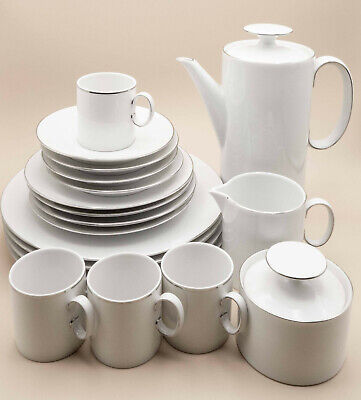 Thomas By Rosenthal Dinner Service - Fine White Porcelain - 2mm Platinum Band • 79.95£