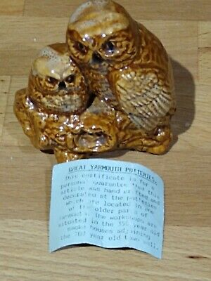 Yarmouth Potteries Adult And Baby Owl On Branch With Little Leaflet • 4.99£