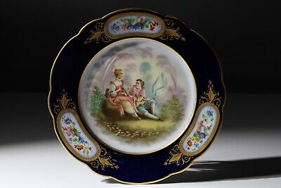 19thC FRENCH SEVRES LOVERS SCENE CABINET PLATE C1870 • 135£