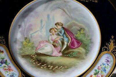 19thC FRENCH SEVRES LOVERS SCENE CABINET PLATE C1870 #2 • 135£