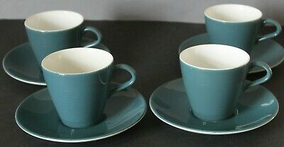 POOLE BLUE MOON CAMEO ~ 4 X  COFFEE CUPS & SAUCERS...14 Available • 9.99£
