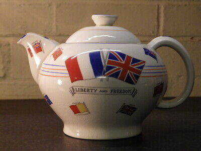 CROWN DUCAL 1939 War Against Hitlerism LIBERTY & FREEDOM TEAPOT • 60£