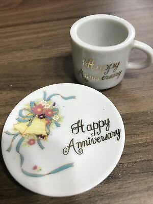 Mini Happy Aniversary Cup And Plate (6cm) • 4.99£
