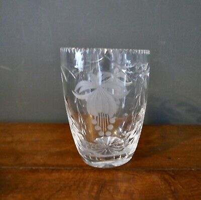 Large Vintage Cut And Etched Crystal Vase Decorated With Fuchsias  • 2.50£