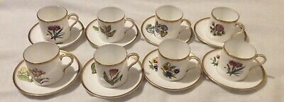 Royal Worcester English Flowers Espresso Coffee Cups And Saucers X8  • 45£