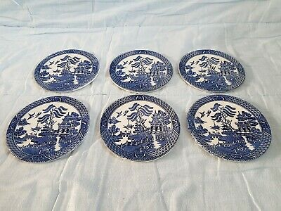 Vintage Oriental Design Blue And White Coasters X6 • 4.99£