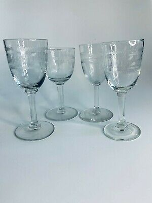 4 Mixed Etched Victorian Wine Glasses, Geometric Etched Patterns • 9.99£
