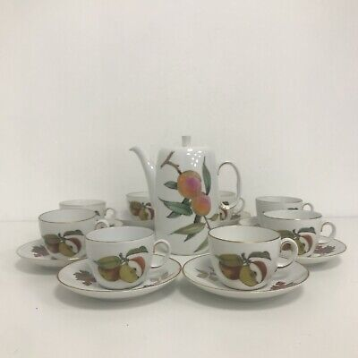 Royal Worcester 'Evesham Gold' Design 8 X Cups & Saucers Plus Coffee Pot 421215 • 20£